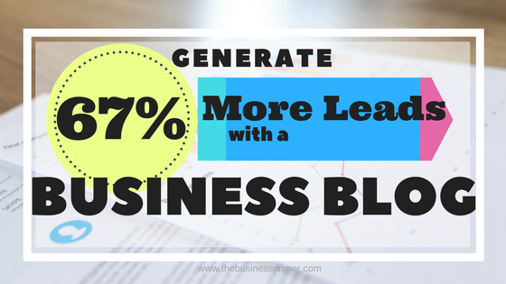 Business Blog Generate 67% more leads